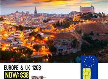 Europe + UK 30days 12GB Sim Card