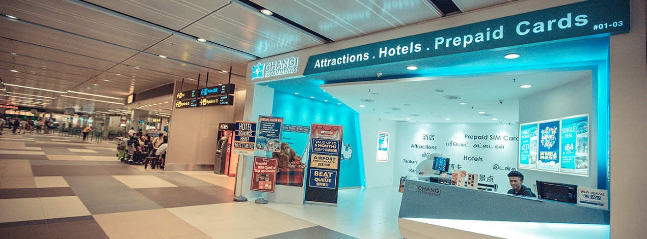 Changi Recommends Booth at Changi Airport Terminal 1 Arrival Hall