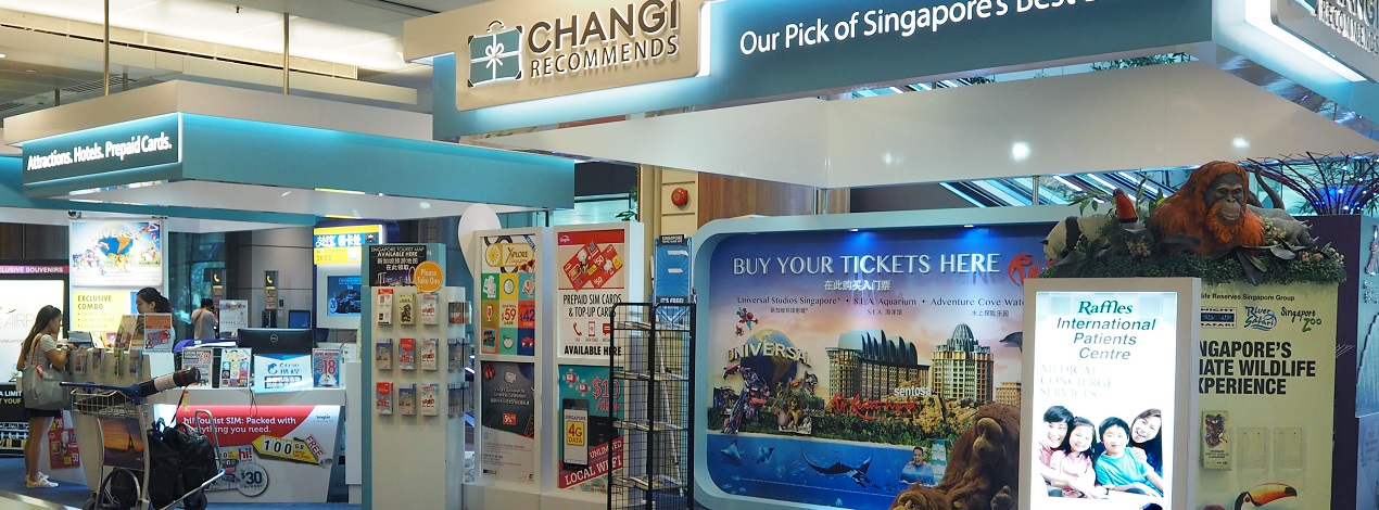 Changi Recommends Booth at Changi Airport Terminal 2 Arrival Hall