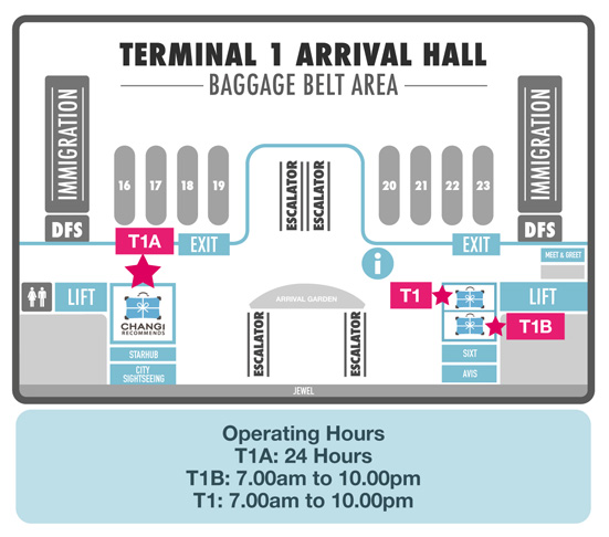 Changi Recommends Booth at Terminal 1 Arrival Hall