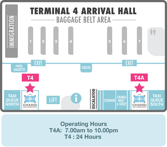 Changi Recommends Booth at Terminal 4 Arrival Hall